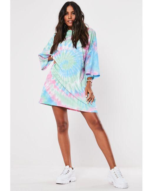 67d4d8f904599 ... Missguided - Tall Pink Tye Dye T-shirt Dress - Lyst ...