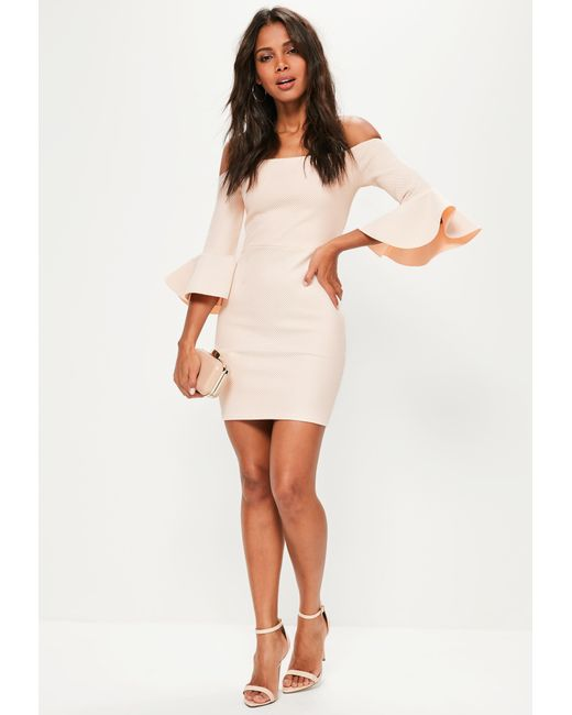 ... Missguided - Natural Nude Bardot Fishnet Frill Bodycon Dress - Lyst ... d765fc253