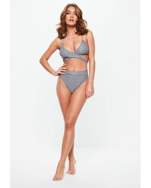 97d83254bb5aa ... Lyst Missguided - Blue Gingham High Leg High Waisted Bikini Bottoms -  Mix & Match ...