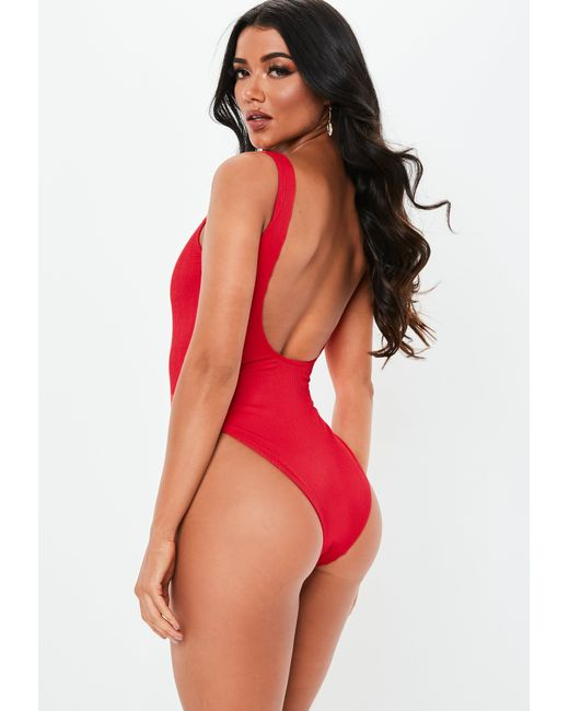 9e7a01a7e6 ... Missguided - Red Rib High Leg Swimsuit - Lyst ...