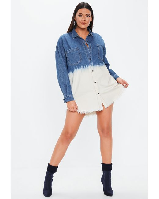 abbfc5902a ... Missguided - Plus Size Blue Oversized Dip Dye Denim Shirt Dress - Lyst  ...