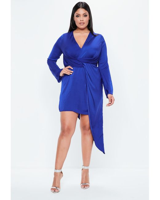 Missguided - Curve Blue Hammered Satin Asymmetric Dress - Lyst