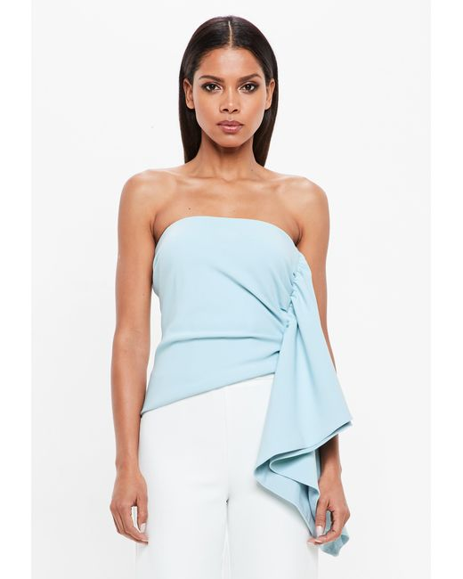 Missguided - Powder Blue Bandeau Side Frill Top - Lyst