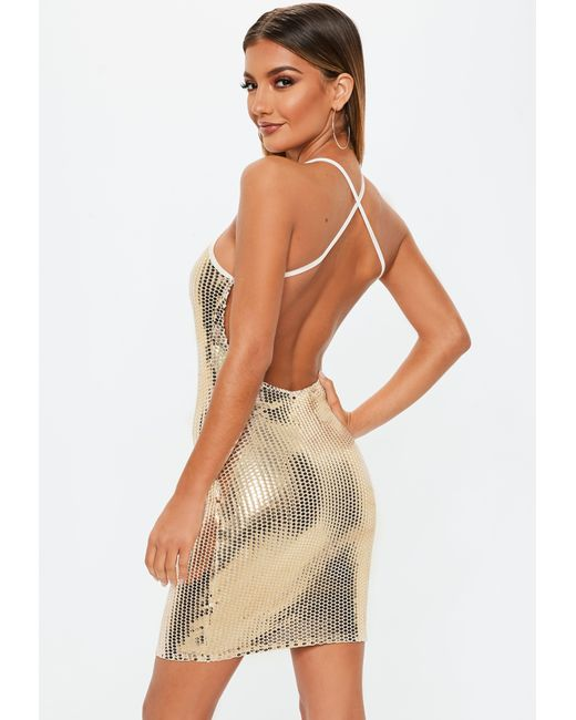 223b49da ... Missguided - Metallic Tall Gold Sequin Bodycon Mini Dress - Lyst ...