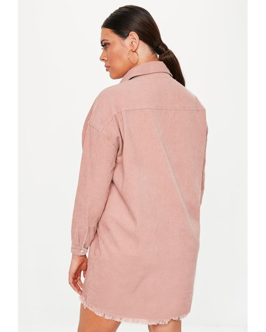52928ebc9c3 Lyst - Missguided Plus Size Dusky Pink Oversized Cord Shirt Dress in ...