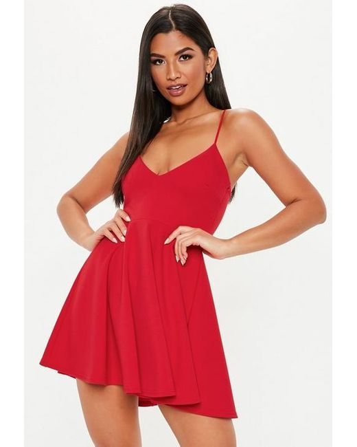 12afe8bba924 Missguided Petite Red Strappy Scuba Crepe Skater Dress in Red - Lyst