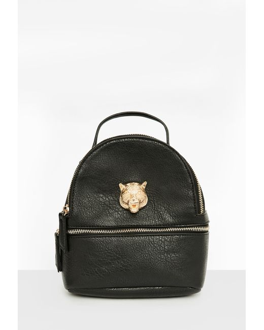 Missguided | Black Faux Leather Metallic Detail Backpack | Lyst