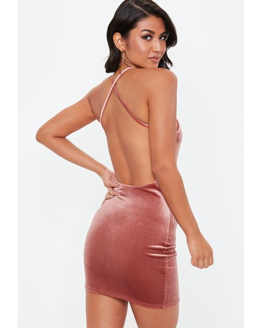 60faa2fc61 Lyst - Missguided Pink Velvet Square Neck Bodycon Dress in Pink