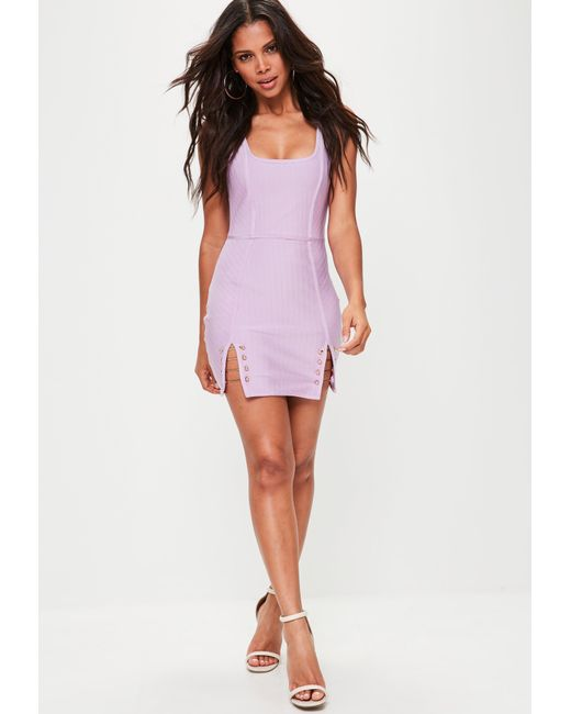 Missguided | Purple Lilac Strappy Bar Detail Bandage Dress | Lyst