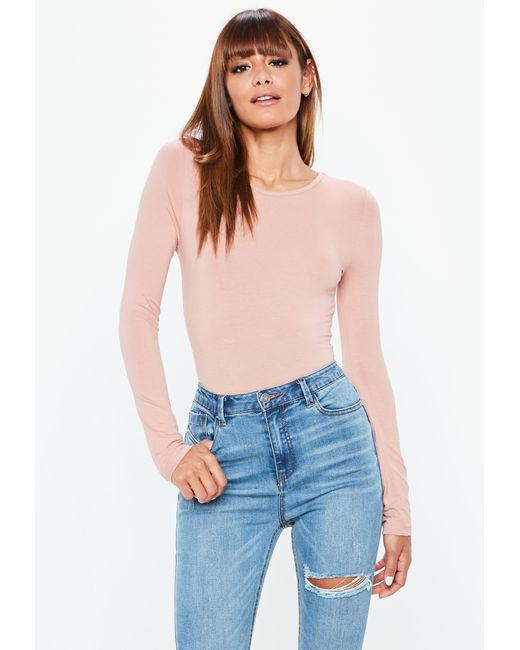 Missguided - Natural Nude Long Sleeves Crew Neck Bodysuit - Lyst