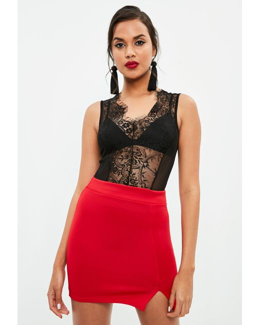 Missguided - Black Scallop Lace Sleeveless Bodysuit - Lyst