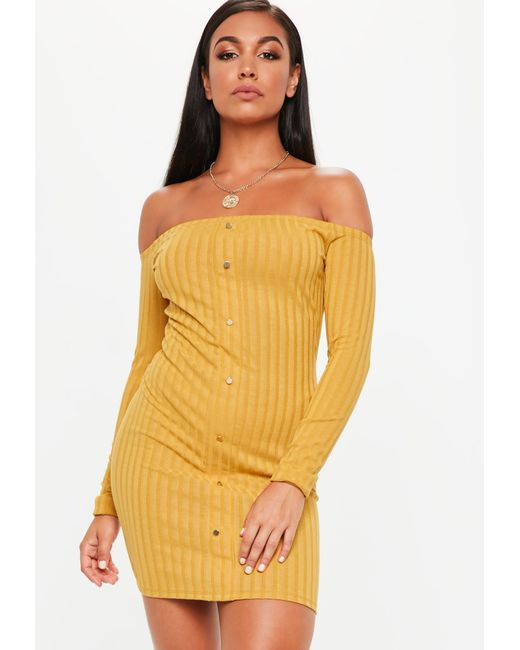 Missguided - Yellow Mustard Bardot Popper Front Bodycon Dress - Lyst