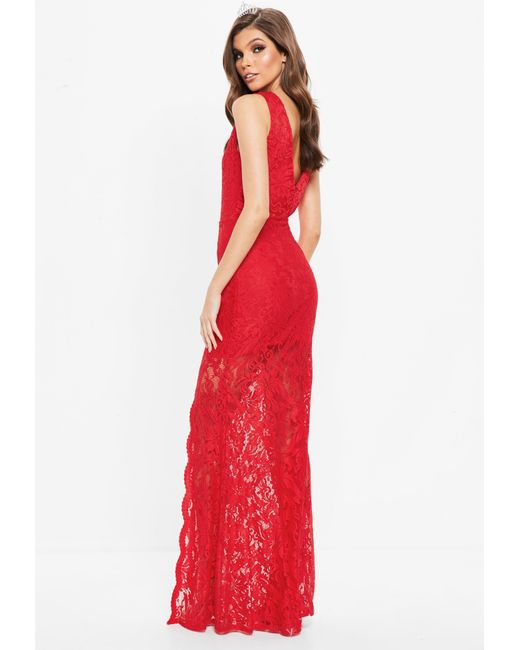 Lyst - Missguided Red Plunge Scallop Trim Lace Maxi Dress in Red 8b0b92401