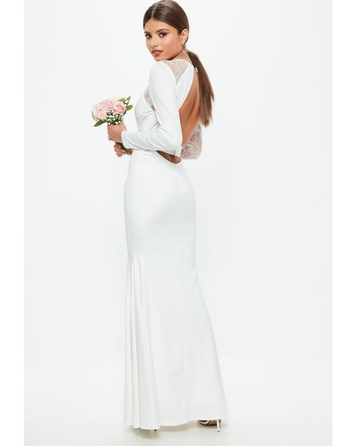 Lyst - Missguided Bridal White Long Sleeve Plunge Open Back Lace ...