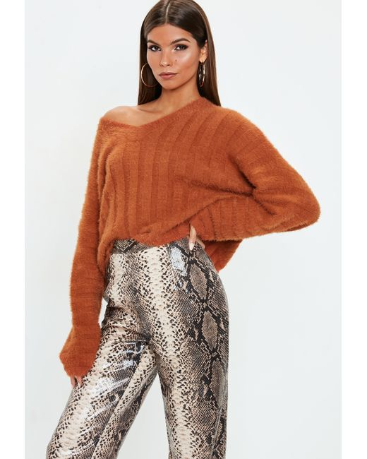 Missguided - Burnt Orange Fluffy Ribbed Knitted Sweater - Lyst