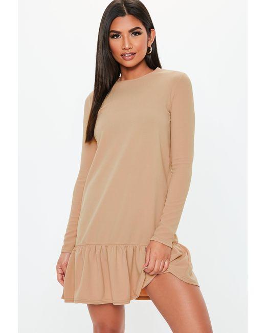 Missguided - Natural Nude Frill Hem Smock Dress - Lyst ... e764ce3b2