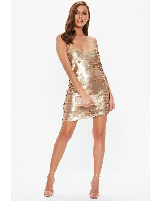 7c6b038c Missguided - Metallic Gold Matte Disk Sequin Slip Shift Dress - Lyst ...