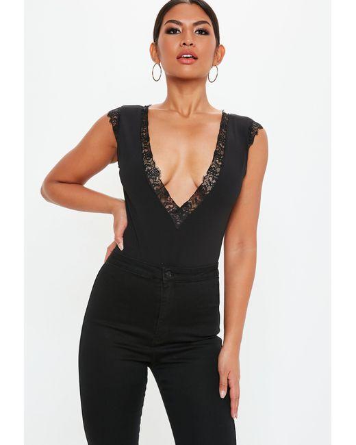 Missguided - Black Lace Trim Bodysuit - Lyst