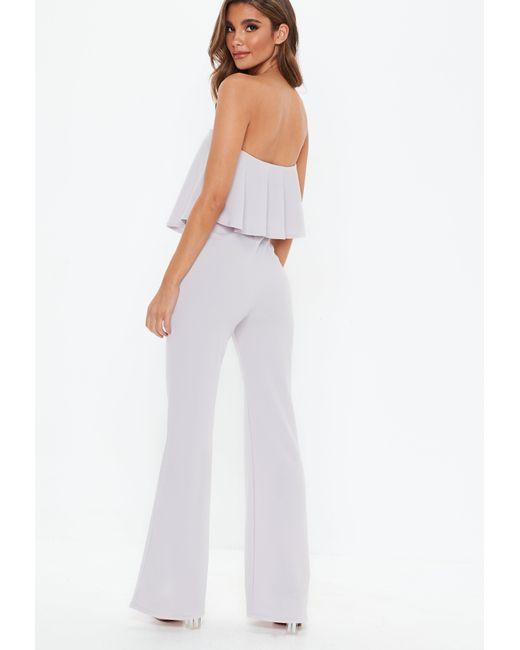9e846ba7c0d1 ... Missguided - Gray Grey Double Layer Wide Leg Jumpsuit - Lyst ...