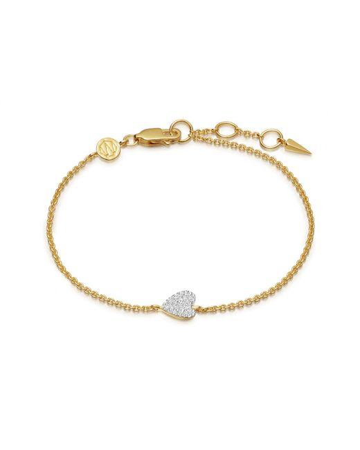 Missoma - Metallic Folded Pave Heart Bracelet - Lyst