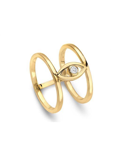 Missoma - Metallic Evil Eye White Topaz Double Band Ring - Lyst