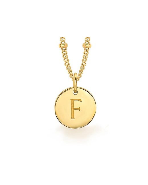Missoma | Metallic Ladies Gold Initial F Pendant With Beaded Chain | Lyst