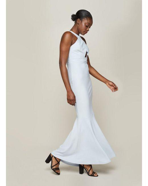 Miss Selfridge - Pale Blue X-neck Maxi Prom Dress - Lyst