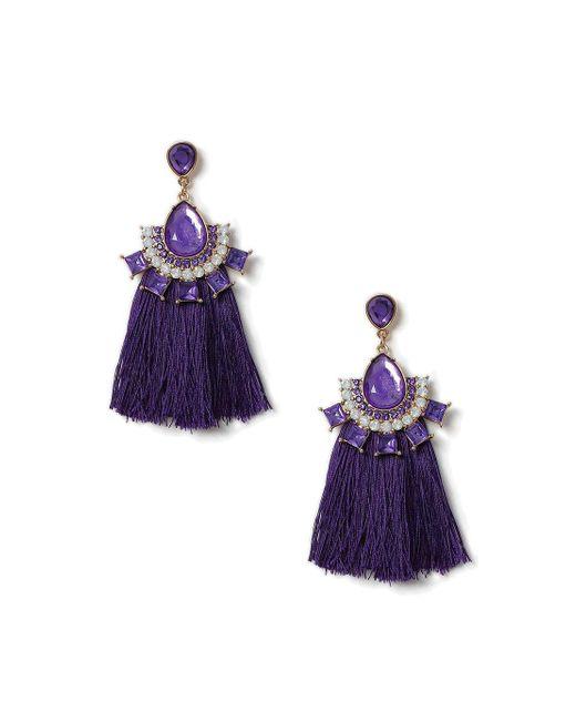 Miss Selfridge | Purple Navette Tassel Fringe Earrings | Lyst