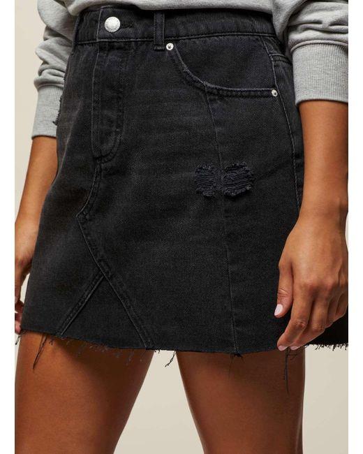 miss selfridge black seamed denim skirt in black lyst
