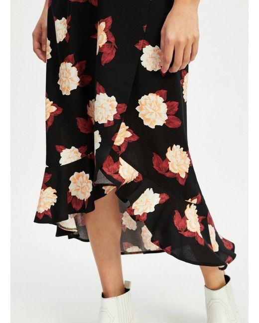 ... Miss Selfridge - Black Spun Floral Print Midi Skater Skirt - Lyst ... 47aeda348