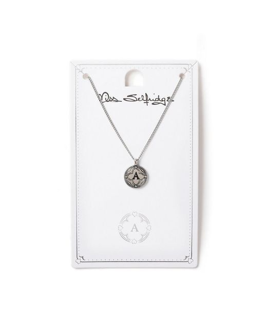 Miss Selfridge - Metallic A Initial Round Ditsy Necklace - Lyst