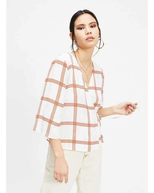 a4a4a8bfe70c96 Miss Selfridge - Multicolor Rust Check Tie Wrap Blouse - Lyst ...