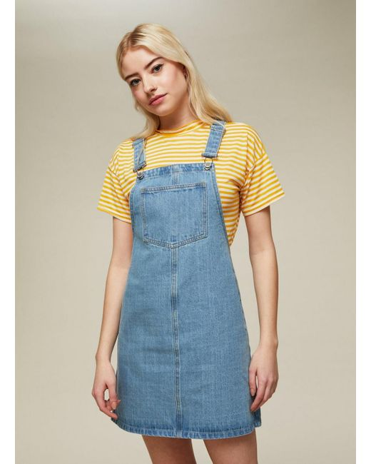 Miss Selfridge - Blue Bleach Wash Denim Pinafore Dress - Lyst