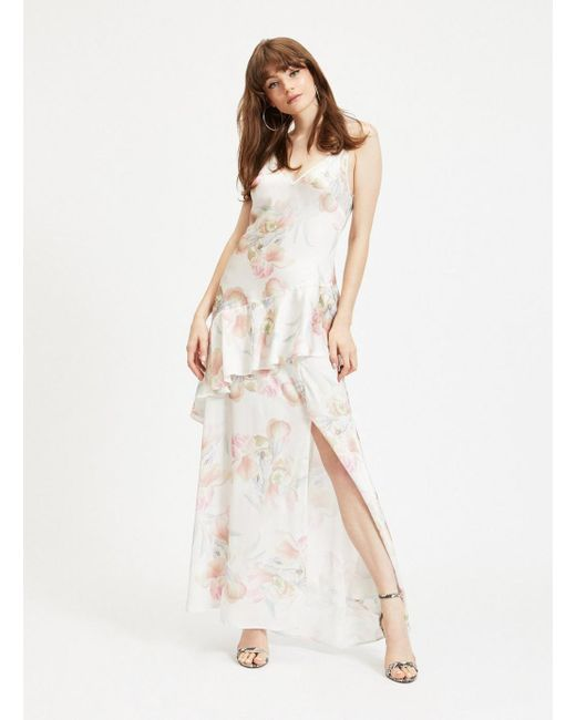 1178b576658 Miss Selfridge - White Ivory Floral Print Bias Frill Maxi Dress - Lyst ...