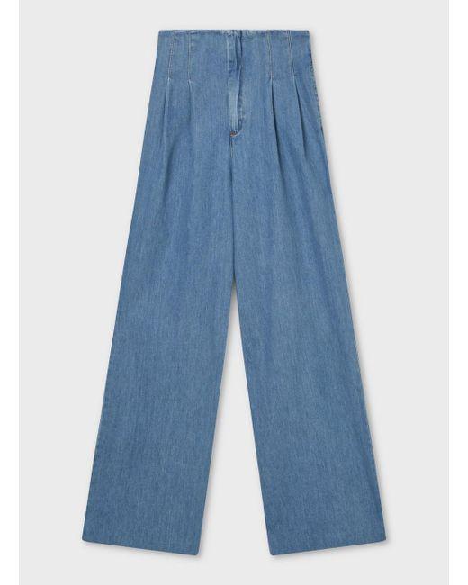 a8e3cd608c9 Lyst - Miss Selfridge Blue Pleat Front Wide Leg Jeans in Blue