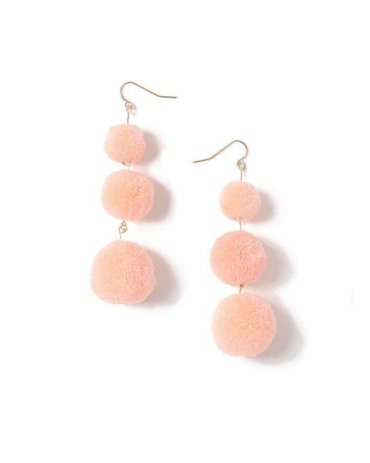 Miss Selfridge - Pink Pom Drop Earrings - Lyst