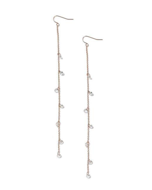 Miss Selfridge   Metallic Fine Bead Chain Crystal Drop Earrings   Lyst