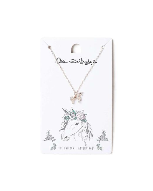 Miss Selfridge   Metallic Unicorn Spirit Animal Ditsy Necklace   Lyst