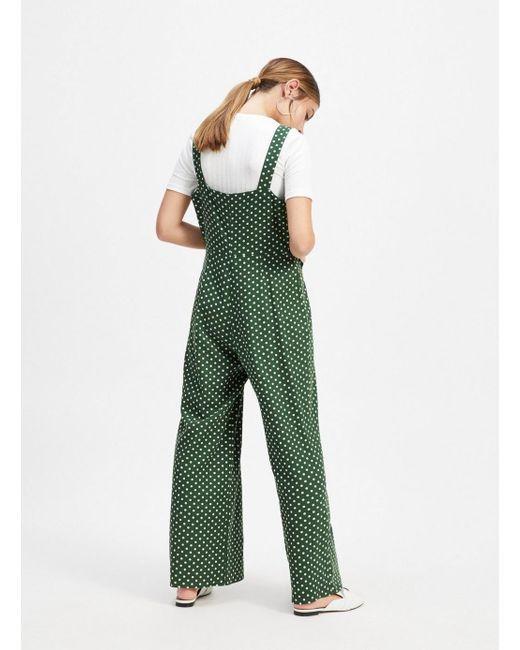 c08c42f8931 ... Miss Selfridge - Petite Green Spotted Pinafore Jumpsuit - Lyst ...