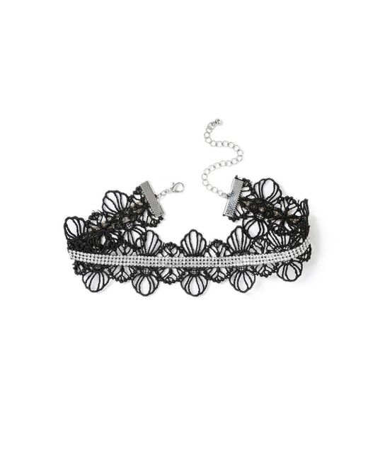 Miss Selfridge - Black Rhinestone Lace Choker - Lyst