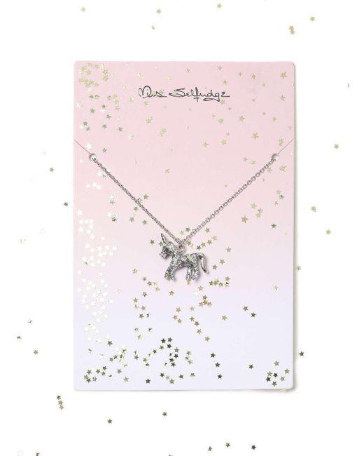 Miss Selfridge | Metallic Silver Glitter Unicorn | Lyst