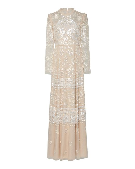 Needle & Thread Pink Aurora Sequin-embroidered Tulle Gown