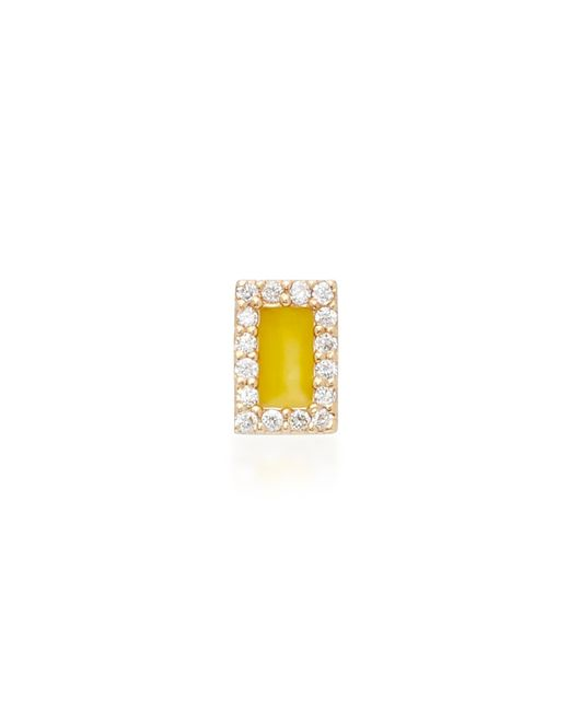 Alison Lou - Rectangle 14k Yellow Gold And Diamond Stud Earrings - Lyst
