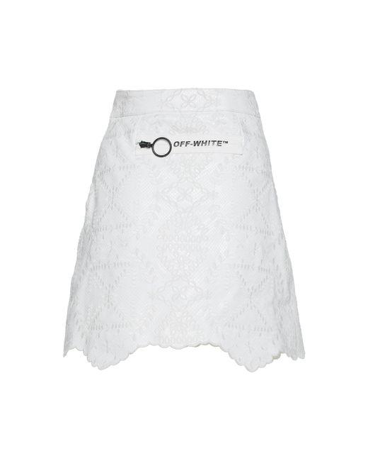 ab0f1f4481 ... Off-White c/o Virgil Abloh - White Embossed-leather Mini Skirt ...