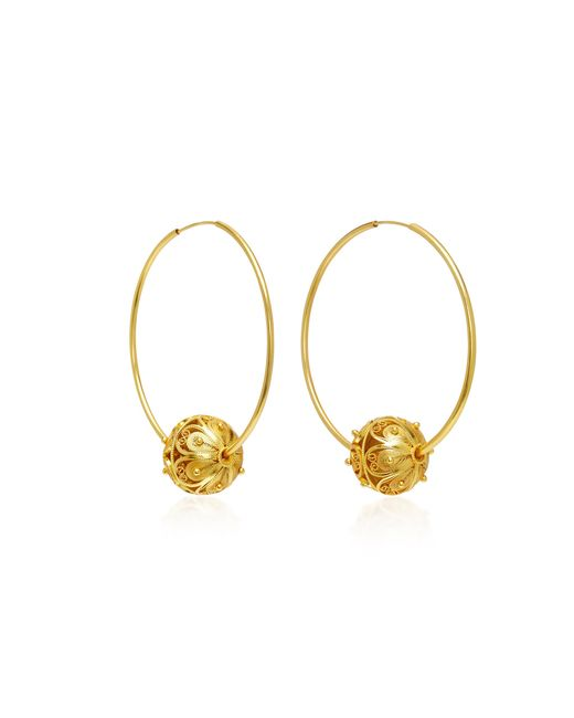Mallarino - Metallic Gala Embellished Filigree Ball Hoop Earrings - Lyst