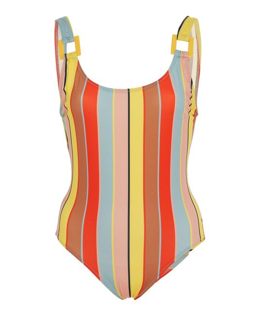 Solid & Striped Multicolor Stella Buckle Striped One-piece Swimsuit