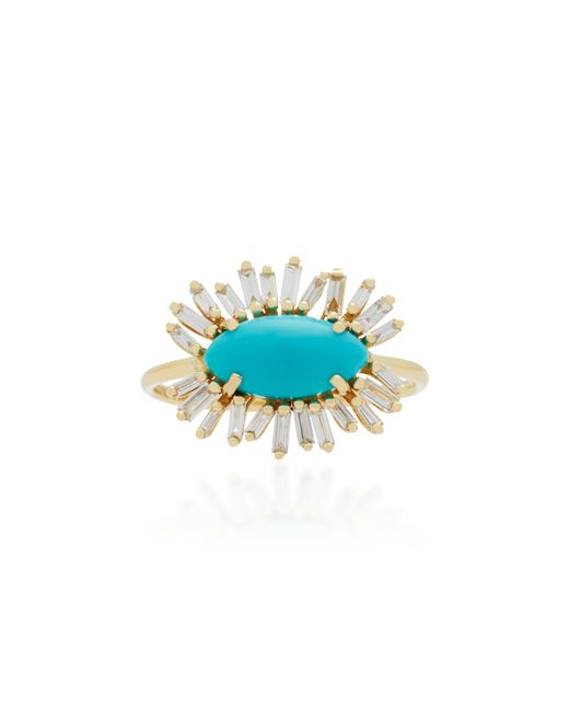 Suzanne Kalan | Blue 18k Gold, Turquoise And Diamond Ring | Lyst