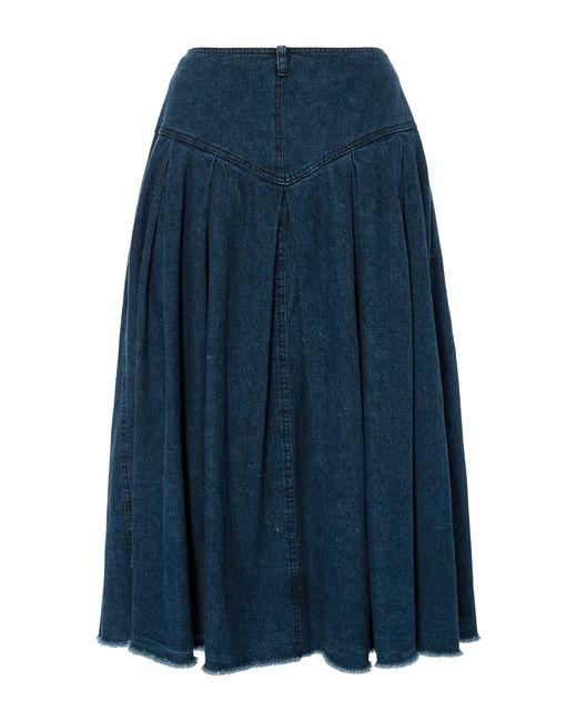 sea denim button front skirt in blue wash lyst
