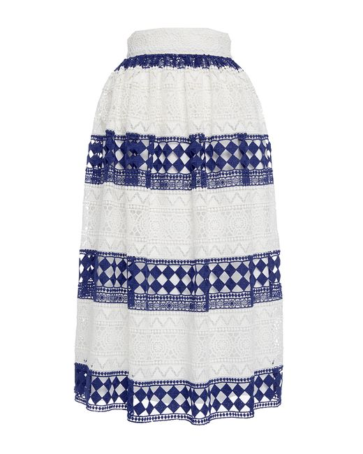 Philosophy Di Lorenzo Serafini | White Striped Cotton Macramé Skirt | Lyst