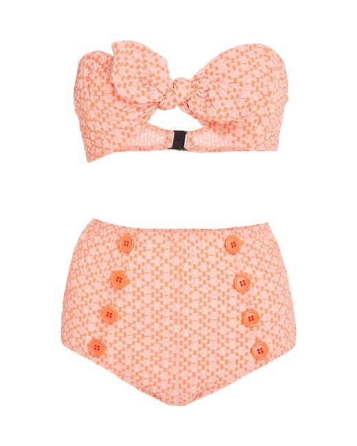 Lisa Marie Fernandez - Orange Poppy Button High-waist Bikini Set - Lyst